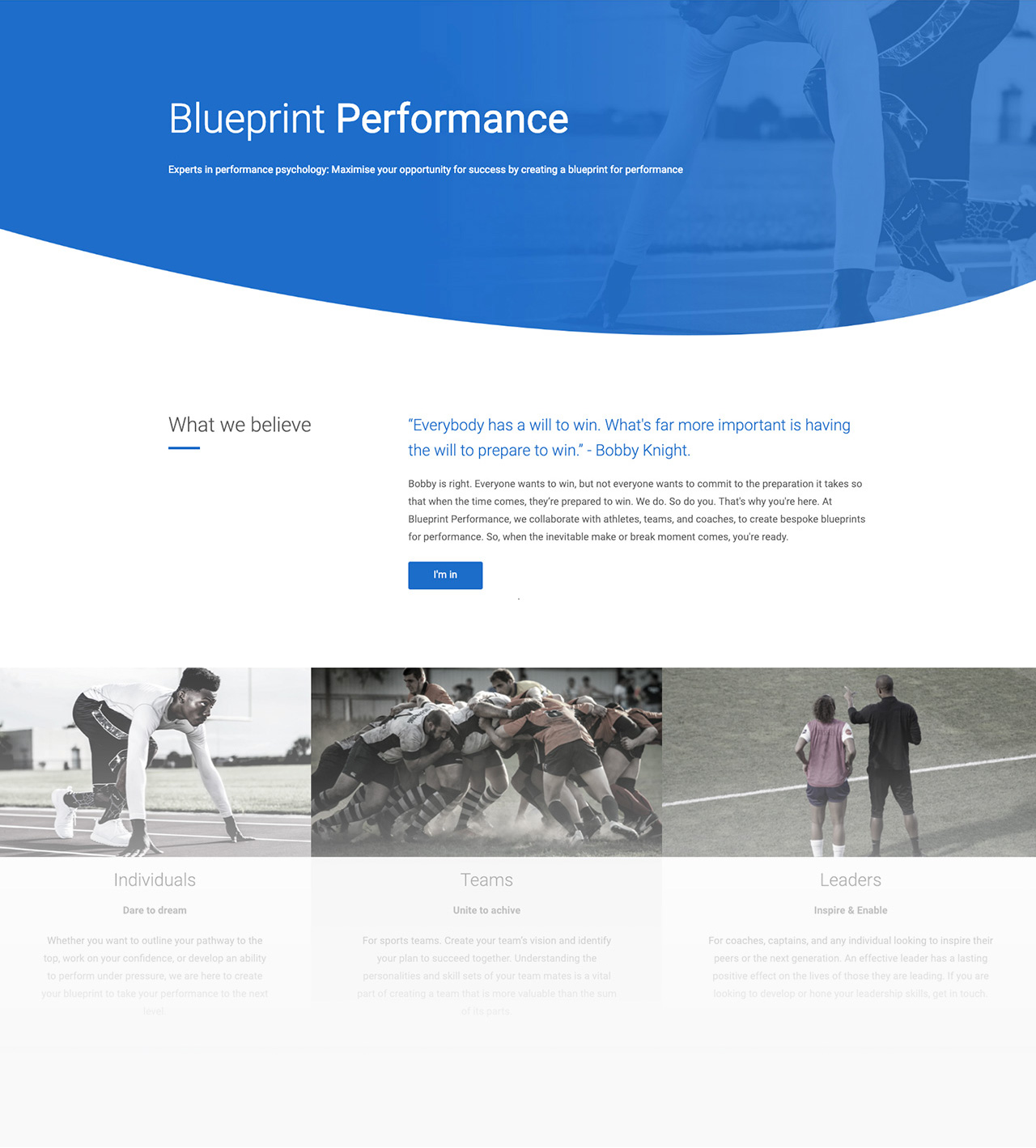 Blueprint Performance website
